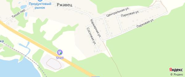 Сосновая улица на карте хутора Ржавца с номерами домов