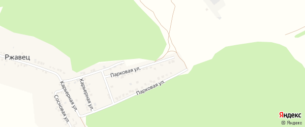 Парковая улица на карте хутора Ржавца с номерами домов