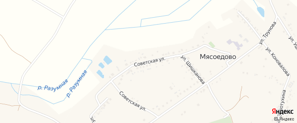 Советская улица на карте села Мясоедово с номерами домов