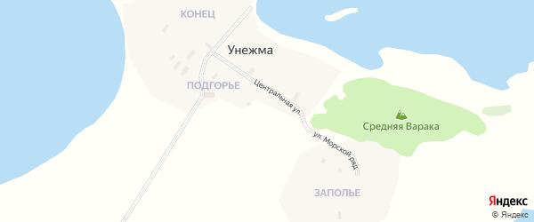 Клубная улица на карте поселка Унежмы с номерами домов