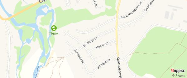Улица Фрунзе на карте села Новой Таволжанки с номерами домов