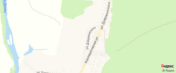 Улица Дзержинского на карте села Новой Таволжанки с номерами домов