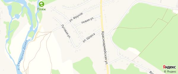 Улица Щорса на карте села Новой Таволжанки с номерами домов