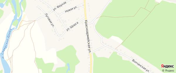 Красноармейская улица на карте села Новой Таволжанки с номерами домов