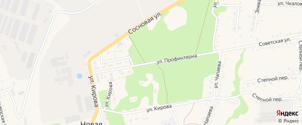 Улица Профинтерна на карте села Новой Таволжанки с номерами домов