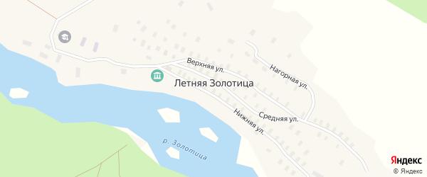 Нагорная улица на карте деревни Летней Золотица с номерами домов