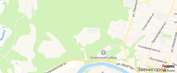 Карта поселка Санатория Подмосковья города Звенигорода в Московской области с улицами и номерами домов