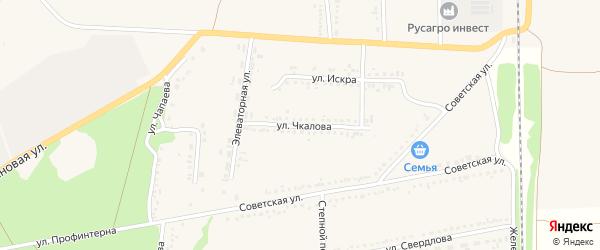 Улица Чкалова на карте села Новой Таволжанки с номерами домов