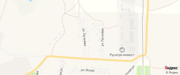 Улица Пугачева на карте села Новой Таволжанки с номерами домов