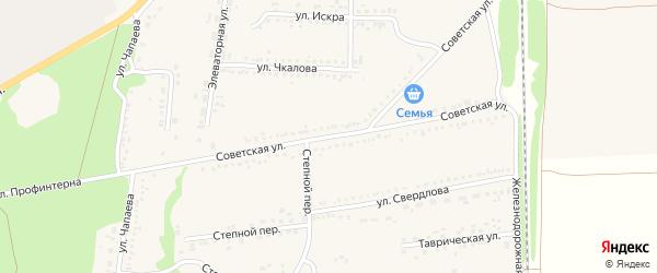 Советская улица на карте села Новой Таволжанки с номерами домов
