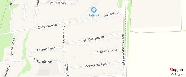 Улица Свердлова на карте села Новой Таволжанки с номерами домов
