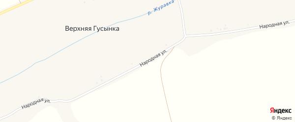 Народная улица на карте хутора Верхней Гусынки с номерами домов