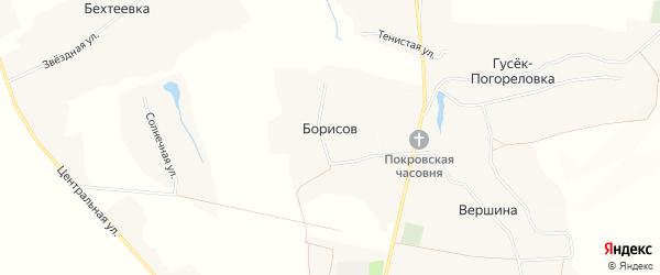 Карта хутора Борисова в Белгородской области с улицами и номерами домов