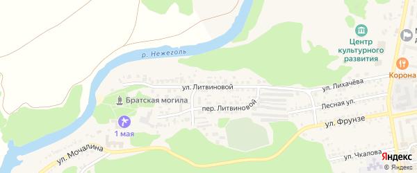 Улица Литвиновой на карте Шебекино с номерами домов