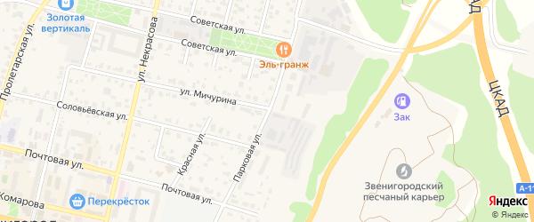 Парковая улица на карте Звенигорода с номерами домов