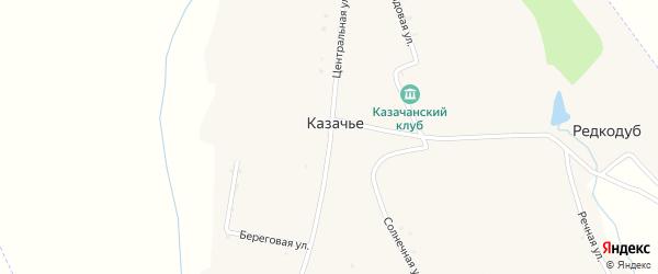 Центральная улица на карте села Казачьего с номерами домов