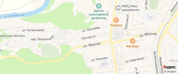 Лесная улица на карте Шебекино с номерами домов