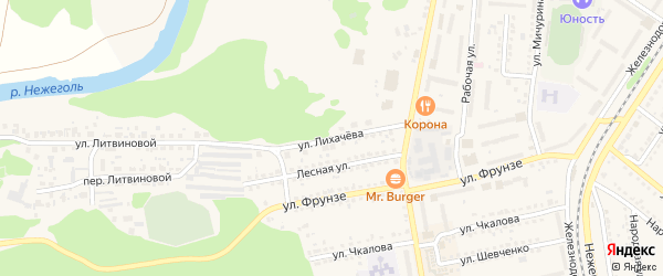 Улица Лихачева на карте Шебекино с номерами домов