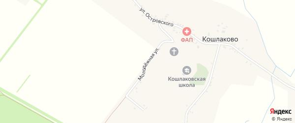 Молодежная улица на карте села Кошлаково с номерами домов