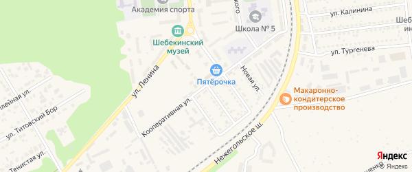 Кооперативная улица на карте Шебекино с номерами домов
