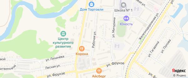 Рабочая улица на карте Шебекино с номерами домов