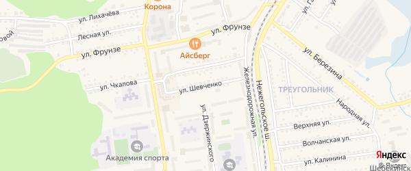 Улица Шевченко на карте Шебекино с номерами домов