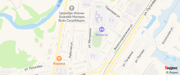 Улица Мичурина на карте Шебекино с номерами домов