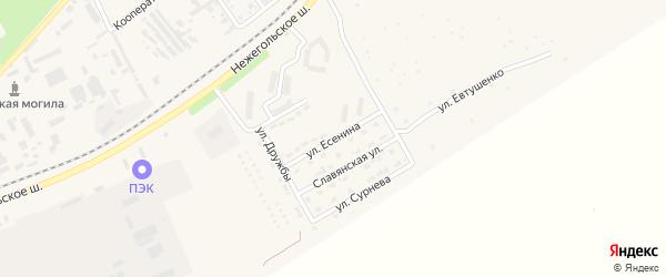 Улица Есенина на карте Шебекино с номерами домов