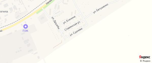 Улица Сурнева на карте Шебекино с номерами домов