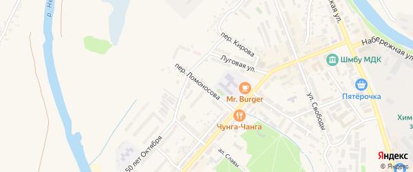 Переулок Ломоносова на карте Шебекино с номерами домов