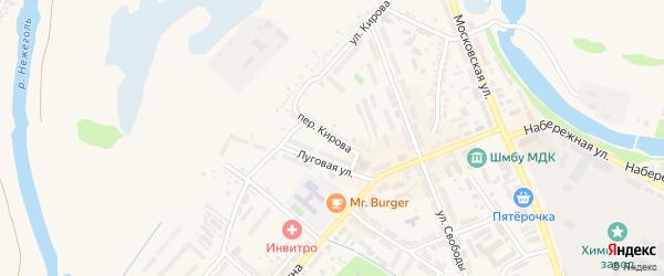 Переулок Кирова на карте Шебекино с номерами домов