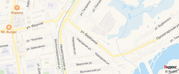 Улица Березина на карте Шебекино с номерами домов