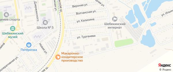 Улица Тургенева на карте Шебекино с номерами домов