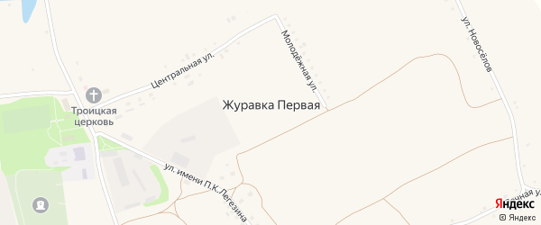 Дорожный 1-й переулок на карте села Журавки-Первой с номерами домов