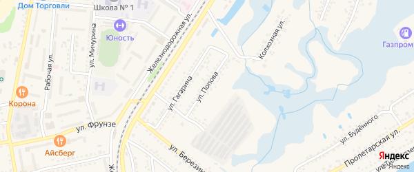 Улица Попова на карте Шебекино с номерами домов
