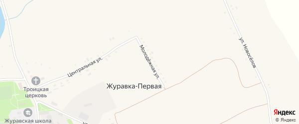 Молодежная улица на карте села Журавки-Первой с номерами домов