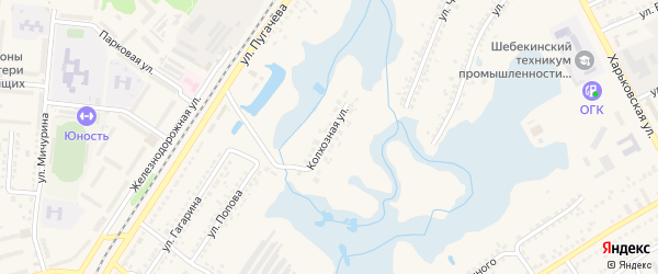 Колхозная улица на карте Шебекино с номерами домов