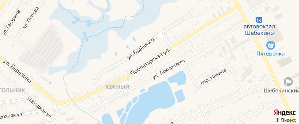 Пролетарская улица на карте Шебекино с номерами домов