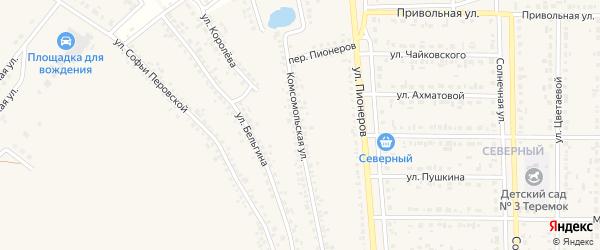 Комсомольская улица на карте Шебекино с номерами домов
