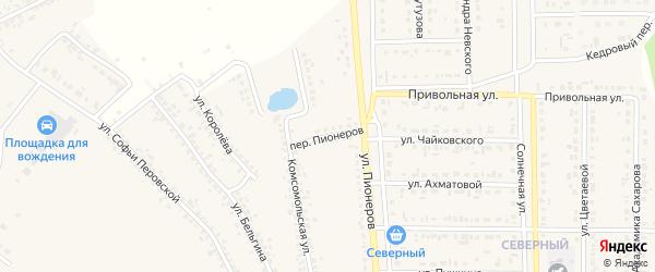 Переулок Пионеров на карте Шебекино с номерами домов