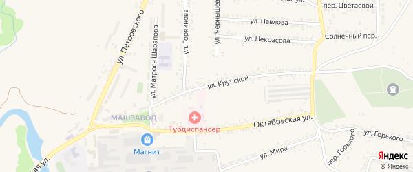 Улица Крупской на карте Шебекино с номерами домов