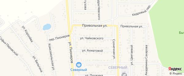 Улица Чайковского на карте Шебекино с номерами домов