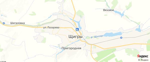 Карта Щигров с районами, улицами и номерами домов