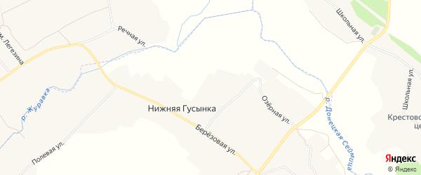 Карта хутора Нижней Гусынки в Белгородской области с улицами и номерами домов