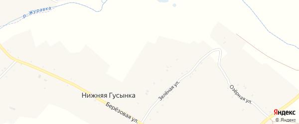 Зеленая улица на карте хутора Нижней Гусынки с номерами домов