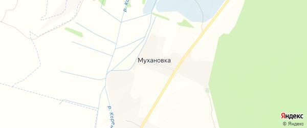 Карта хутора Мухановки в Белгородской области с улицами и номерами домов