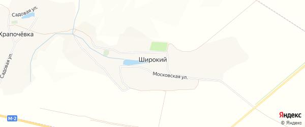 Карта хутора Широкий (Коломыцевское с/п) в Белгородской области с улицами и номерами домов
