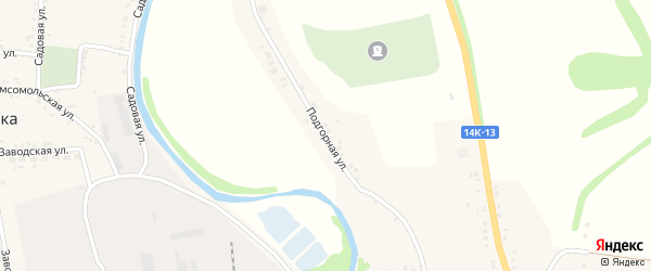 Подгорная улица на карте села Нежеголя с номерами домов
