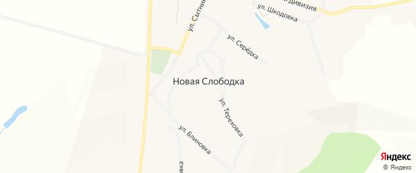 Карта села Новой Слободки в Белгородской области с улицами и номерами домов