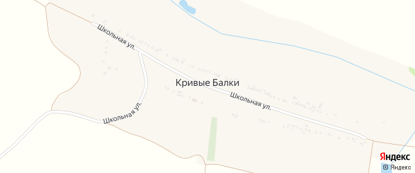 Школьная улица на карте села Кривые Балки с номерами домов